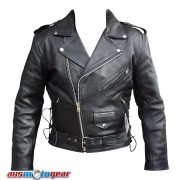 Brando Cowhide Leather Jacket- front