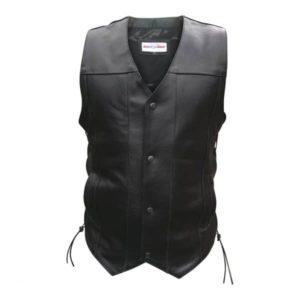 Mens Leather Vests Biker Vest Motorcycle 4 Button Waist coat
