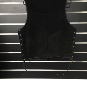 Suede Leather Vest Double Hand Braided Black Edges