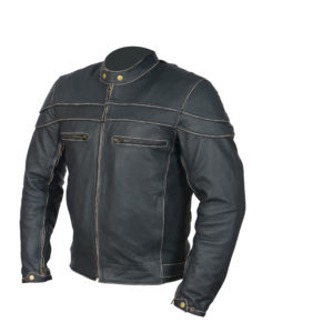 leather jacket cafe racer side