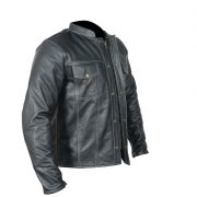 letaher jacket straight fit side